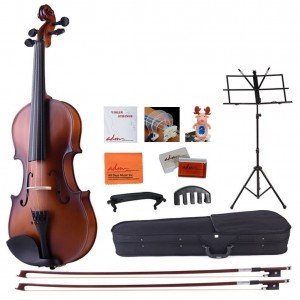 ADM 44 Full Size Handcrafted Solid Wood Student Violin Starter Kits(with Hard Case, Two Bows, Music Stand, Cartoon Tuner, Bow Collimator, Shoulder Rest, Mute, etc.), Satin Antique Brown