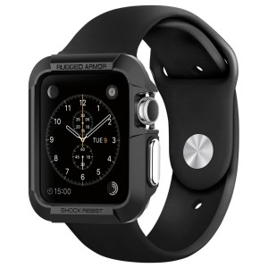 Apple Watch Case, Spigen® [Rugged Armor] Resilient [Black] - [Include 2 Screen Protectors] Ultimate protection from drops and impacts for Apple Watch 42mm (2015) - Black (SGP11496)