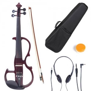 Cecilio 44 CEVN-2NA Solid Wood Mahogany Metallic Electric Silent Violin with Ebony Fittings in Style 2