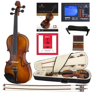 Cecilio CVN-300 Solidwood Ebony Fitted Violin with D'Addario Prelude Strings, Size 44 (Full Size)