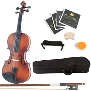 Mendini 44 MV300 Solid Wood Satin Antique Violin with Hard Case, Shoulder Rest, Bow, Rosin and Extra Strings (Full Size)