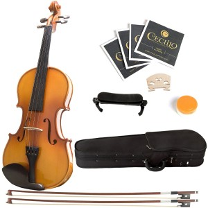 Mendini 44 MV400 Ebony Fitted Solid Wood Violin with Hard Case, Shoulder Rest, Bow, Rosin, Extra Bridge and Strings - Full Size