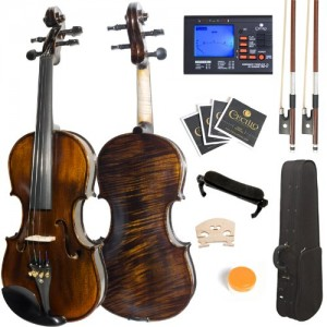 Mendini 44 MV500+92D Flamed 1-Piece Back Solid Wood Violin with Case, Tuner, Shoulder Rest, Bow, Rosin, Bridge and Strings