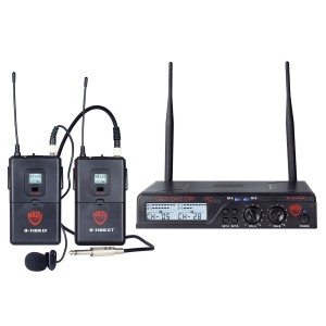 Nady U-2100 Dual Combo LT-GT 200-Channel UHF Wireless Lavalier Microphone and InstrumentGuitar System