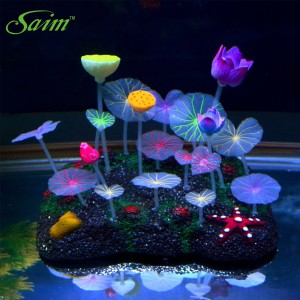 Saim® Glowing Effect Artificial Lotus Root, Leaves and Flowers for Fish Tank Decoration Plastic Aquarium Ornament