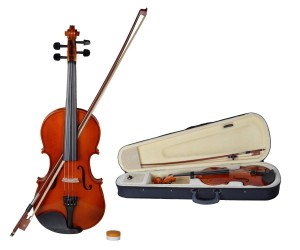 TMS® 44 Full Size Natural Acoustic Violin Fiddle with Case Row Rosin Wood Color New