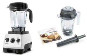 Vitamix 7500 Blender with Low Profile Jar, 2.2 HP Motor, WHITE, AND 32-ounce Dry Grains Container