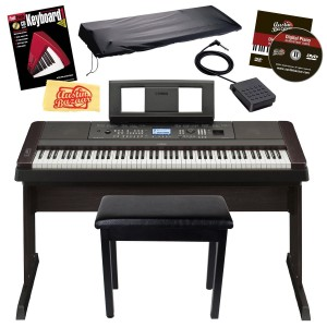 Yamaha DGX650 Digital Piano Bundle with Yamaha Furniture-Style Stand, Furniture-Style Bench, Dust Cover, Sustain Pedal, Power Adapter, Austin Bazaar Instructional DVD, Instructional Book, and Polishing Cloth