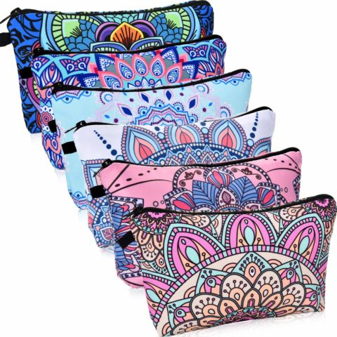 6 Pieces Makeup Bag Toiletry Pouch Waterproof Cosmetic Bag with Mandala Flowers Patterns, 6 Styles