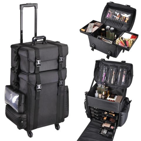 AW 2in1 Black Oxford Soft Sided Rolling Makeup Case Cosmetic Stroage Trolley 15x11x25 Train Bag Makeup Luggage