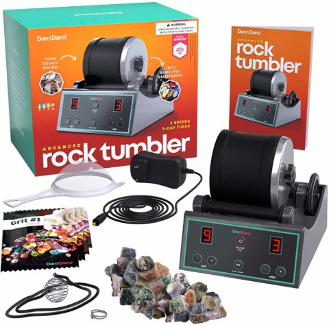 Advanced Professional Rock Tumbler Kit - with Digital 9-day Polishing timer & 3 speed settings - Turn Rough Rocks into Beautiful Gems Great Science & STEM Gift for Kids all ages Geology Toy