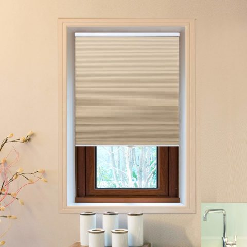 Allesin Cellular Honeycomb Shades White Beige Blackout 27 W x 64 H Single Cell Pleated Blinds Cordless Room Darkening Inside & Outside Mount for Windows