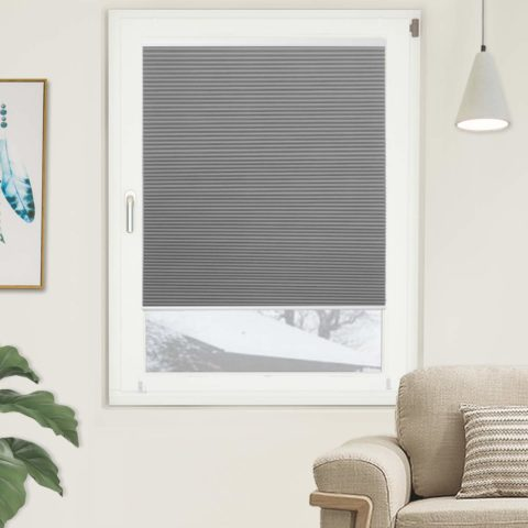 Blackout Cellular Shades Single Cell Cordless Room Darkening Shade for Windows Bedroom, Thermal and Easy to Pull Down & Up, Gray White