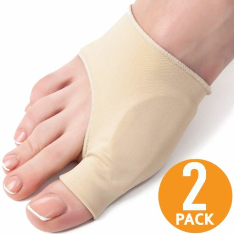 Bunion Corrector and Bunion Relief Sleeve - 2-Pack, Size M, Gel Pad - Hallux Valgus and Shoe Friction Protector