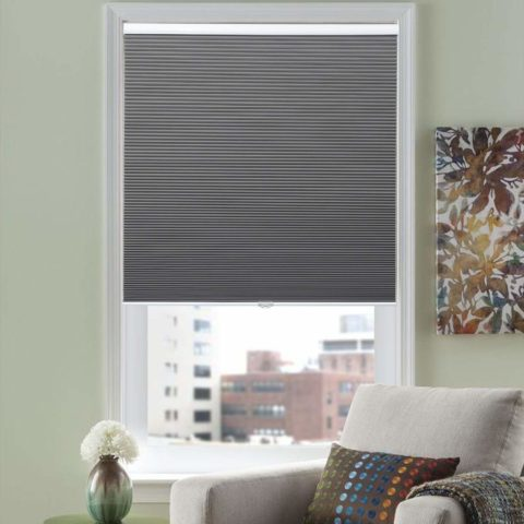 HOMEDEMO Cordless Blackout Cellular Shades Fabric Honeycomb Blinds for Windows, Doors and Bedroom, White Dark Gray 27W x 64H