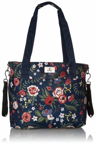 JuJuBe Encore Travel Diaper Tote Bag Classic Collection Lightweight, Everyday with Diaper Changing Pad Midnight Posy