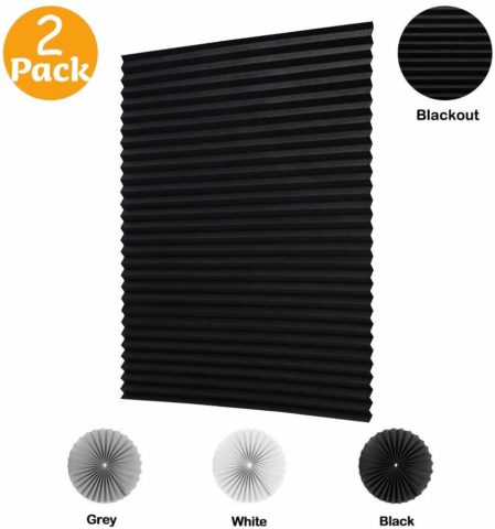 LUCKUP 2 Pack Cordless Blackout Pleated Fabric Shade,Easy to Cut and Install, with 4 Clips