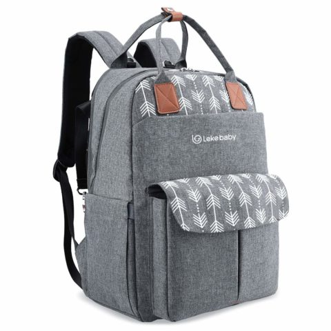 Lekebaby Large Diaper Bag Backpack with Changing Pad and Stroller Straps with Arrow Print