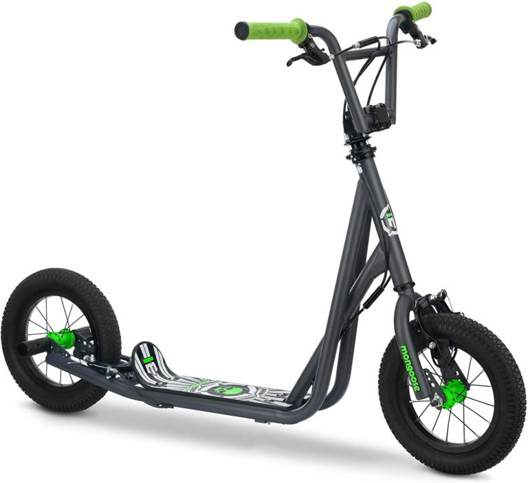 Mongoose Expo Scooter, Featuring Front and Rear Caliper Brakes and Rear Axle Pegs with 12-Inch Inflatable Wheels, Available in BlueBlack, GreyGreen, and PinkBlack Colorways