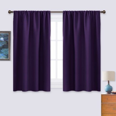 NICETOWN Blackout Purple Curtains for Living Room - Thermal Insulated Solid Rod Pocket Blinds for Bedroom Deco