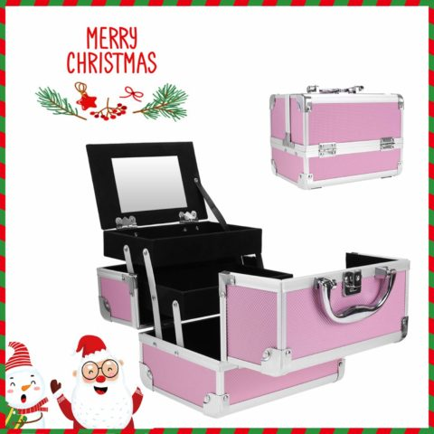 Portable Makeup Train Case,Aluminum Makeup Organizer Jewelry Cosmetic Box with 2 Trays, Mirror and Key Lock