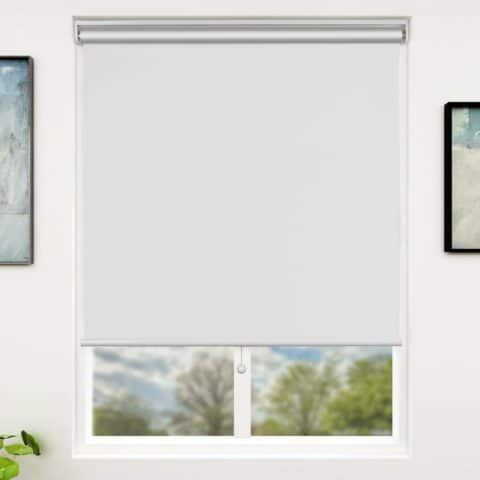 SUNFREE 30 x 72 Inch Blackout Window Shades Cordless Window Blinds with Spring Lifting System for Home & Office, White