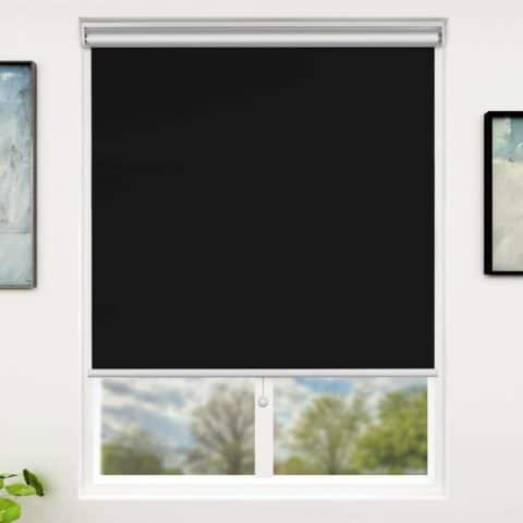 SUNFREE Blackout Window Shades Cordless Window Blinds with Spring Lifting System for Home & Office, 23 x 72 Inch, Black