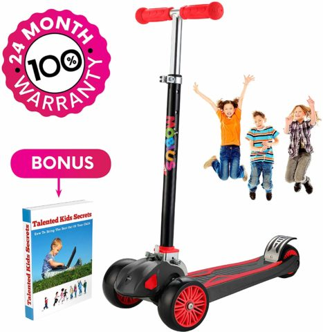 Scooter For Kids, Maxi Foldable Kick Scooter Deluxe, handlebars adjustability from age 5-12, Surface-safety Balance Technology, 2widthX3 Wheels, 24 Months Guarantee, eBookGift