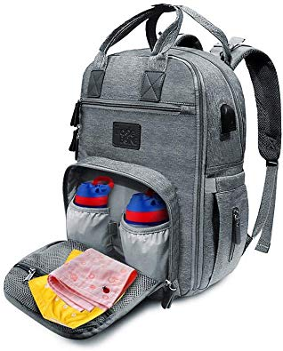 TradeBone Baby Diaper Bag Backpack Insulated with Charging Port