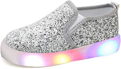 UBELLA Girl's Light Up Sequins Slip On Loafers Flashing LED Casual Shoes Flat Sneakers
