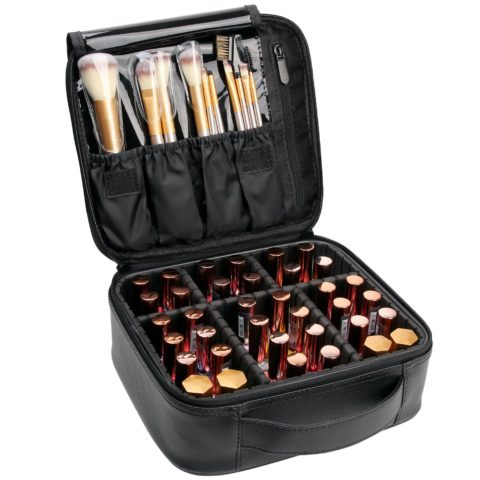 VASKER Makeup Case Travel Makeup Bags Organizer for Women Leather Cosmetic Bag Train Case Box Storage with Adjustable Divider for Cosmetics Gift for Women