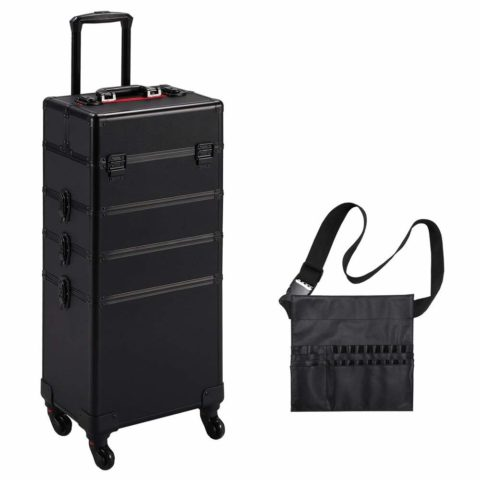 Yaheetech 4 in 1 Rolling Makeup Train Case - Aluminum 4-Wheel Cosmetic Trolley WLift Handle Makeup Brush Bag Christmas Gift Black