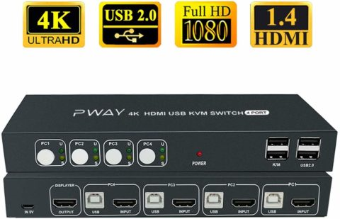 4x1 HDMI KVM Switch 4 Port Ultra