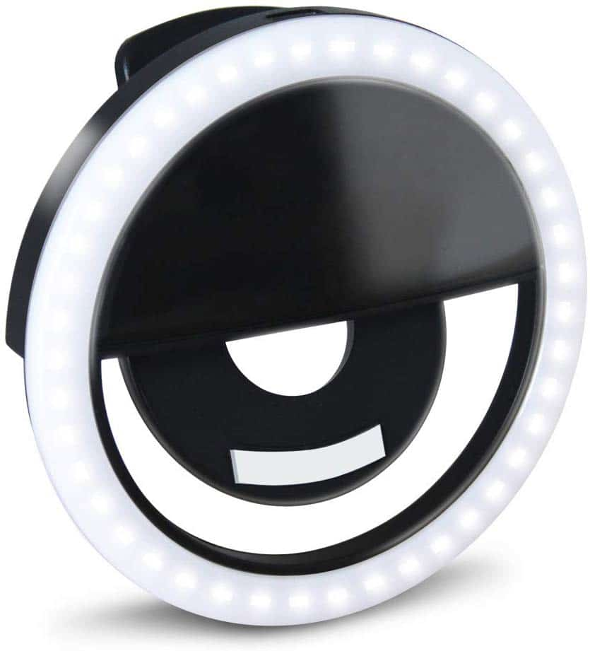 Adjustable Brightness Phone Camera Circle Light for iPhone X Xr XsMax 11 Pro Android iPad 2020 Upgraded New Version 3 Lighting Modes Rechargeable Clip on Fill Light Black Selfie Ring Light